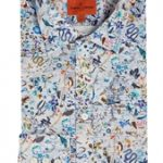 Exotic Bird Print Blue Shirt