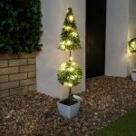 Pre-Lit Outdoor Battery Potted Pointed Ball Topiary Tree, 51cm