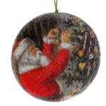 10CM SANTA SCENE DISC BEADED BALL ORNAMENT