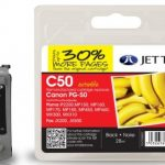 Canon PG-50 Black Remanufactured Ink Cartridge by JetTec – C50