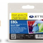 Epson T0801 Black Remanufactured Ink Cartridge by JetTec – E80B