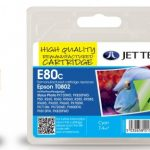 Epson T0802 Cyan Remanufactured Ink Cartridge by JetTec – E80C