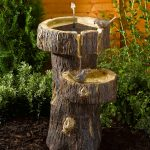 Smart Garden Solar Tree Trunk Birdbath Water Feature, Bark Effect