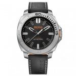 BOSS Orange Watches Mens Black Dial Sao Paulo Leather Strap Watch