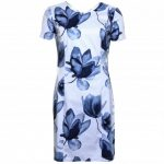 Armani Jeans Womens White & Blue Floral Fitted Dress