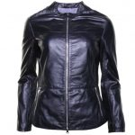 Armani Jeans Womens Blue Leather Jacket