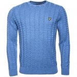 Lyle & Scott Mens Dusk Blue Cable Crew Knitted Jumper