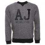 Armani Jeans Mens Grey AJ Chest Logo Crew Sweat Top
