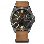 BOSS Orange Watches Mens Black Dial Berlin Leather Strap Watch
