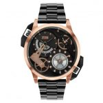 Storm Mens Black Dial & Rose Gold Dualon Watch
