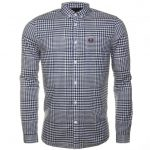 Fred Perry Mens French Navy Distorted Gingham L/s Shirt