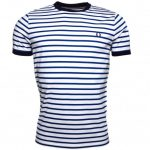 Fred Perry Mens Carbon Blue Breton Stripe Ring S/s Tee Shirt