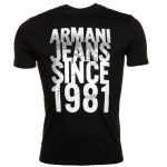 Armani Jeans Mens Black City Print Regular Fit S/s Tee Shirt