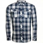 G Star Mens Indigo & Milk Landoh Flannel Check L/s Shirt