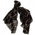 Armani Jeans Womens Black Outline Heart Pattern Scarf