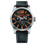BOSS Orange Watches Mens Black Dial Paris Leather Strap Watch