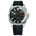 BOSS Orange Watches Mens Black Dial Berlin Silicone Strap Watch