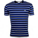 Lacoste Mens Navy & Steamer Striped Crew S/s Tee Shirt