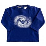 Armani Junior Baby Blue Wave Print Logo L/s Tee Shirt