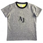 Armani Junior Boys Grey Melange Diamond Print Logo S/s Tee Shirt