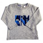 Armani Junior Baby Grey Melange Box Logo Print L/s Tee Shirt