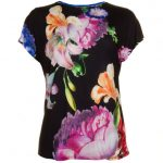 Ted Baker Womens Black Woesy Tapestry Floral S/s Tee Shirt