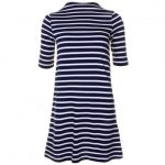 French Connection Womens Nocturnal & Cream Terry Stripe S/s Dress