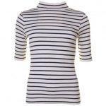 French Connection Womens Cream & Nocturnal Duty Stripe S/s Polo Top