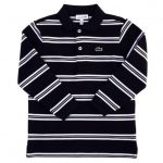 Lacoste Boys Navy Striped L/s Polo Shirt