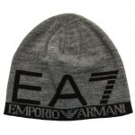 EA7 Mens Grey Melange Train Visibility Beanie Hat