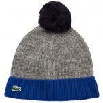 Lacoste Mens Light Grey Knitted Bobble Hat