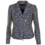 Armani Jeans Womens Blue Lurex Boucle Blazer