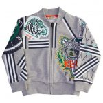 Kenzo Boys Marl Grey Antonio Tiger Zip Sweat Top