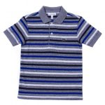 Lacoste Boys Grey Striped S/s Polo Shirt