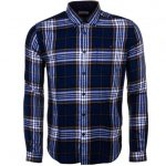 Barbour Heritage Mens Navy Sea Mill Check Slim Fit L/s Shirt