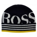 BOSS Boys Blue Branded Knitted Hat