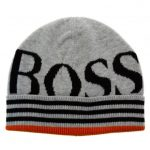 BOSS Boys Black Branded Knitted Hat