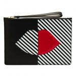 Lulu Guinness Womens Black 50:50 Stripe Lip Grace Pouch