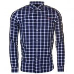Fred Perry Mens Mid Blue Herringbone Gingham L/s Shirt