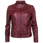 BOSS Orange Womens Dark Red Janabelle Leather Jacket