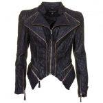 Forever Unique Womens Black Bloom Lace Biker Jacket