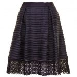 Ted Baker Womens Navy Lotee Lace & Mesh Panelled Skirt