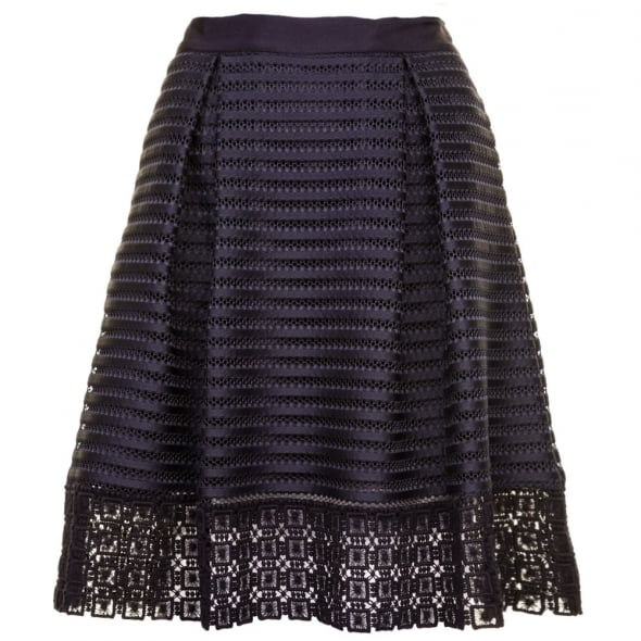 93e78a02f Ted Baker Womens Navy Lotee Lace   Mesh Panelled Skirt