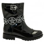 Lelli Kelly Girls Black Patent Ann Mid Strap Boots (26-35)