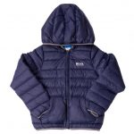 BOSS Boys Navy Branded Hooded Puffer Jacket