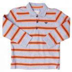 Armani Junior Boys Grey Striped L/s Polo Shirt