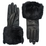 Ted Baker Womens Black Emree Faux Fur Cuff Gloves