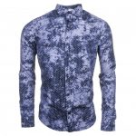 Armani Jeans Mens Blue Patterned L/s Shirt