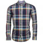 Original Penguin Mens Dark Sapphire P55 Plaid Check Slim Fit L/s Shirt