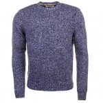 Original Penguin Mens Dark Sapphire Twisted Yarn Crew Knitted Jumper